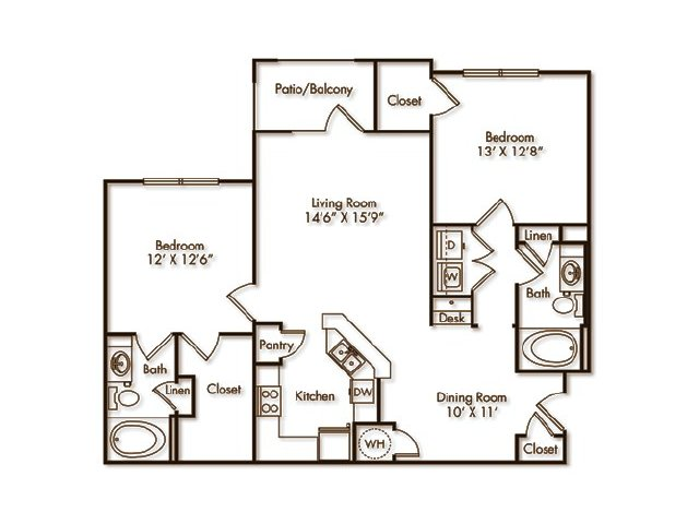 2 Bedrooms 2 Bathrooms Apartment for rent at Villas At Hampton in Hampton, GA