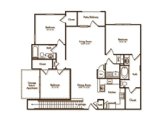 3 Bedrooms 2 Bathrooms Apartment for rent at Villas At Hampton in Hampton, GA