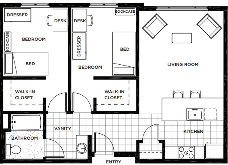 2 Bedrooms 1 Bathroom Apartment for rent at Rainier Place in Lynwood, WA