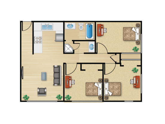 3 Bedrooms 2 Bathrooms Apartment for rent at Campus View in Seattle, WA