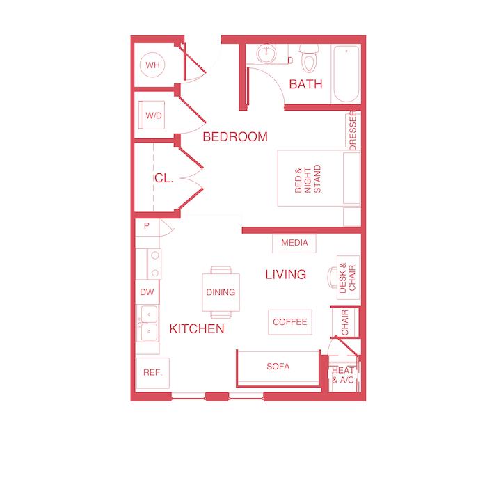 Studio 1 Bathroom Apartment for rent at Edge 1120 in Toledo, OH