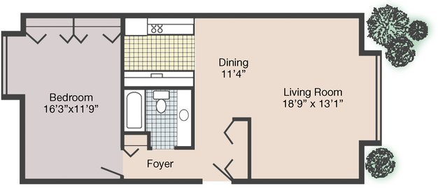 1 Bedroom 1 Bathroom Apartment for rent at Jean Rivard Apartments in Detroit, MI