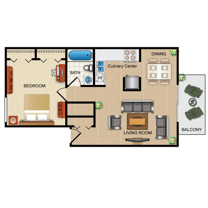 1 Bedroom 1 Bathroom Apartment for rent at Warrenwood in Ithaca, NY