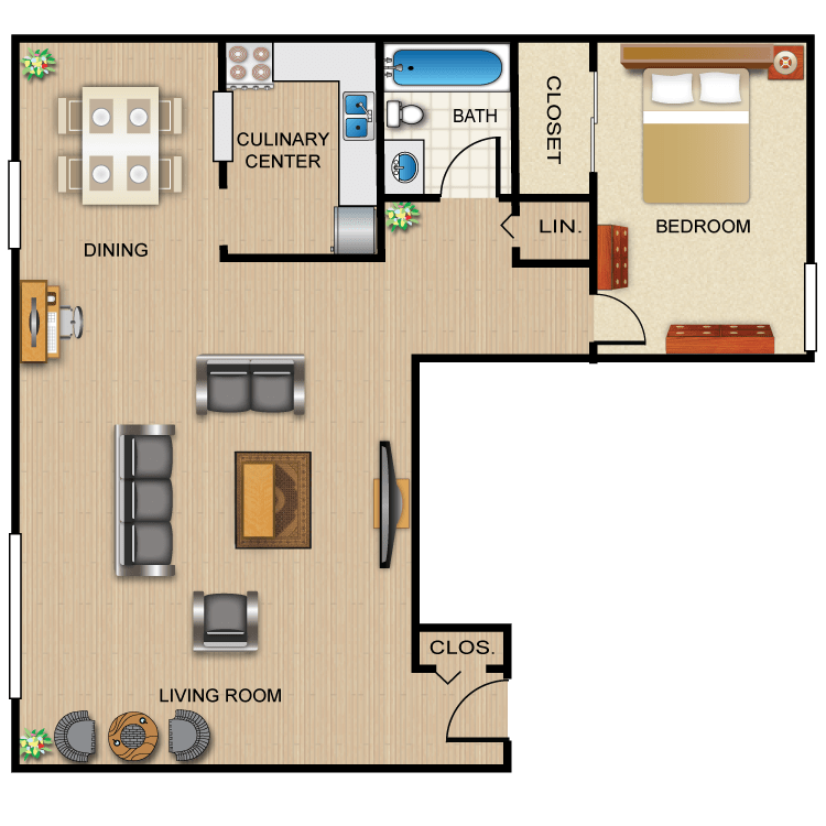 1 Bedroom 1 Bathroom Apartment for rent at Gaslight Village in Ithaca, NY