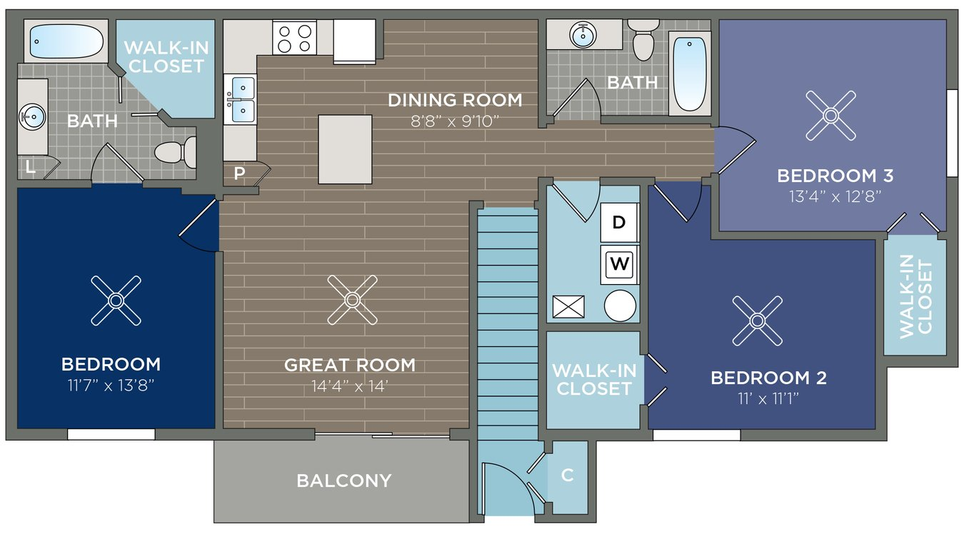 3 Bedrooms 2 Bathrooms Apartment for rent at The Courtyards At Estero in Fort Myers, FL