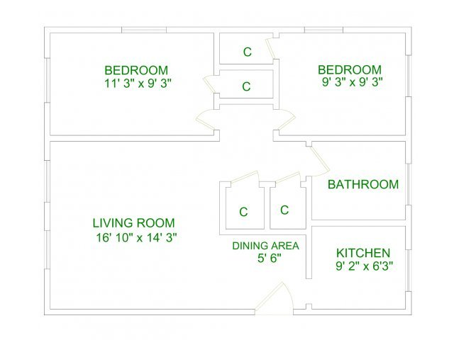 2 Bedrooms 1 Bathroom Apartment for rent at Lakeland Apartments in Ithaca, NY