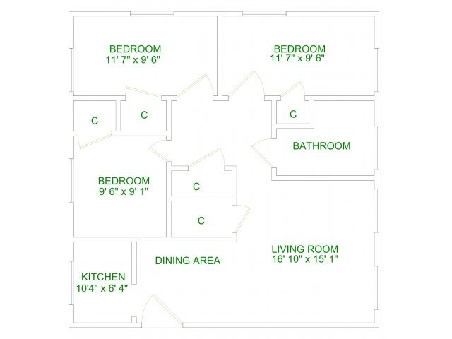 3 Bedrooms 1 Bathroom Apartment for rent at Lakeland Apartments in Ithaca, NY
