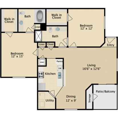 2 Bedrooms 2 Bathrooms Apartment for rent at The Reserve At Westland in Knoxville, TN