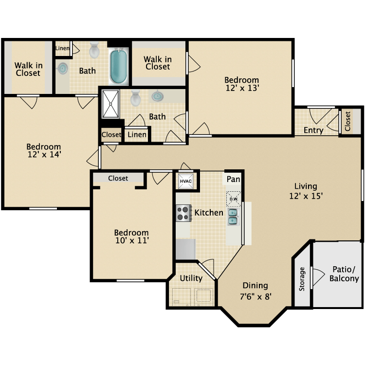 3 Bedrooms 2 Bathrooms Apartment for rent at The Reserve At Westland in Knoxville, TN