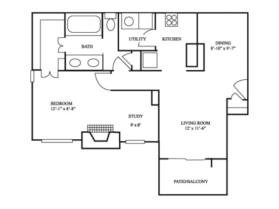 1 Bedroom 1 Bathroom Apartment for rent at River Stone Ranch in Austin, TX