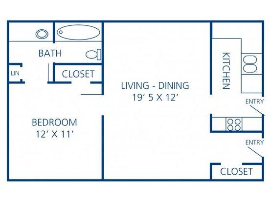 1 Bedroom 1 Bathroom Apartment for rent at Rosecrest Apartment Homes in Memphis, TN
