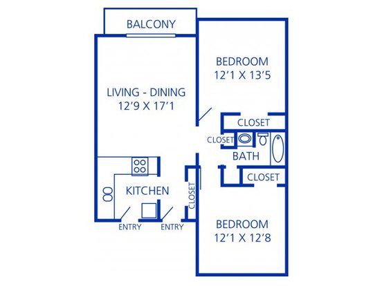 2 Bedrooms 1 Bathroom Apartment for rent at Rosecrest Apartment Homes in Memphis, TN