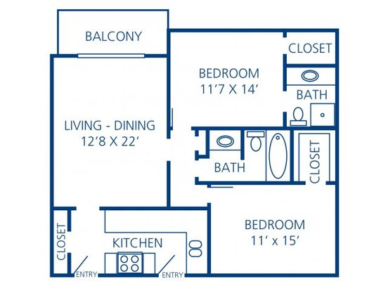 2 Bedrooms 2 Bathrooms Apartment for rent at Rosecrest Apartment Homes in Memphis, TN