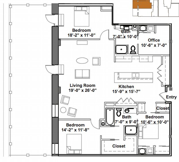 3 Bedrooms 2 Bathrooms Apartment for rent at GW Loft Apartments in St Louis, MO