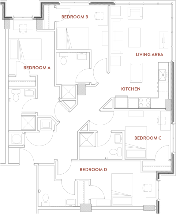 4 Bedrooms 4+ Bathrooms Apartment for rent at The Foundry Lofts in Ann Arbor, MI
