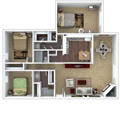 3 Bedrooms 2 Bathrooms Apartment for rent at London House Apartments in Lenexa, KS