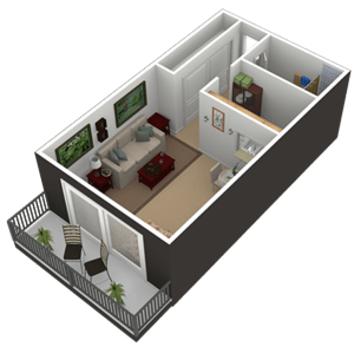 Studio 1 Bathroom Apartment for rent at The Falls Apartments in Mission, KS