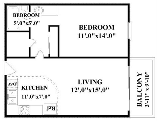 1 Bedroom 1 Bathroom Apartment for rent at The Falls Apartments in Mission, KS
