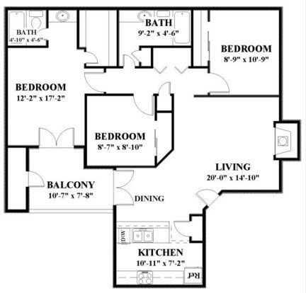 3 Bedrooms 2 Bathrooms Apartment for rent at Springhill Apartments in Overland Park, KS