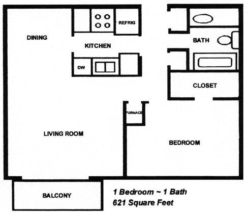 1 Bedroom 1 Bathroom Apartment for rent at Cambridge At River Oaks in Kansas City, KS
