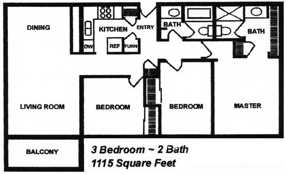 3 Bedrooms 2 Bathrooms Apartment for rent at Cambridge At River Oaks in Kansas City, KS