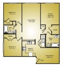 3 Bedrooms 2 Bathrooms Apartment for rent at Ashford Place in Charlotte, NC