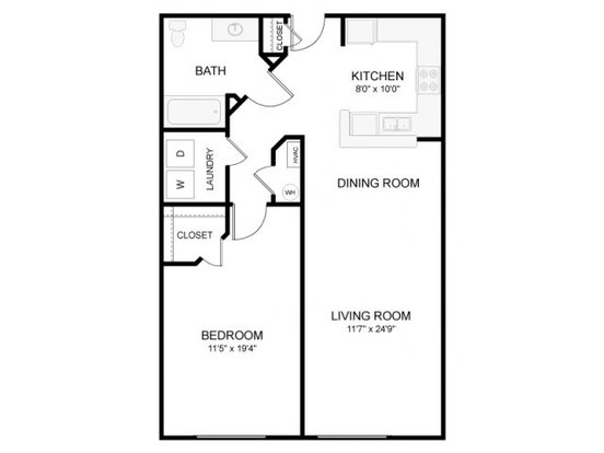 1 Bedroom 1 Bathroom Apartment for rent at The Waverly in Raleigh, NC