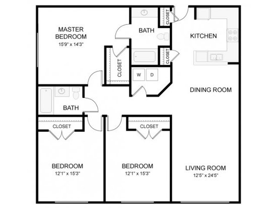 3 Bedrooms 2 Bathrooms Apartment for rent at The Waverly in Raleigh, NC