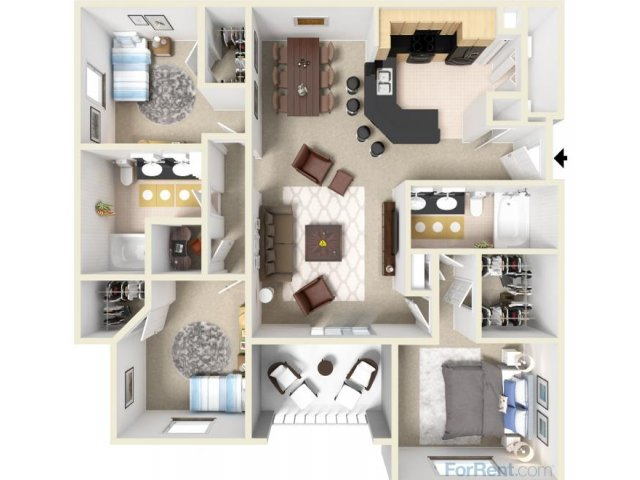 3 Bedrooms 2 Bathrooms Apartment for rent at Lodge At Lakeline Village in Cedar Park, TX