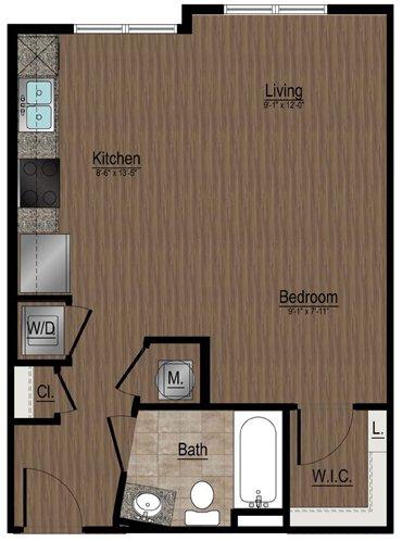 Studio 1 Bathroom Apartment for rent at Whetstone Apartments in Durham, NC