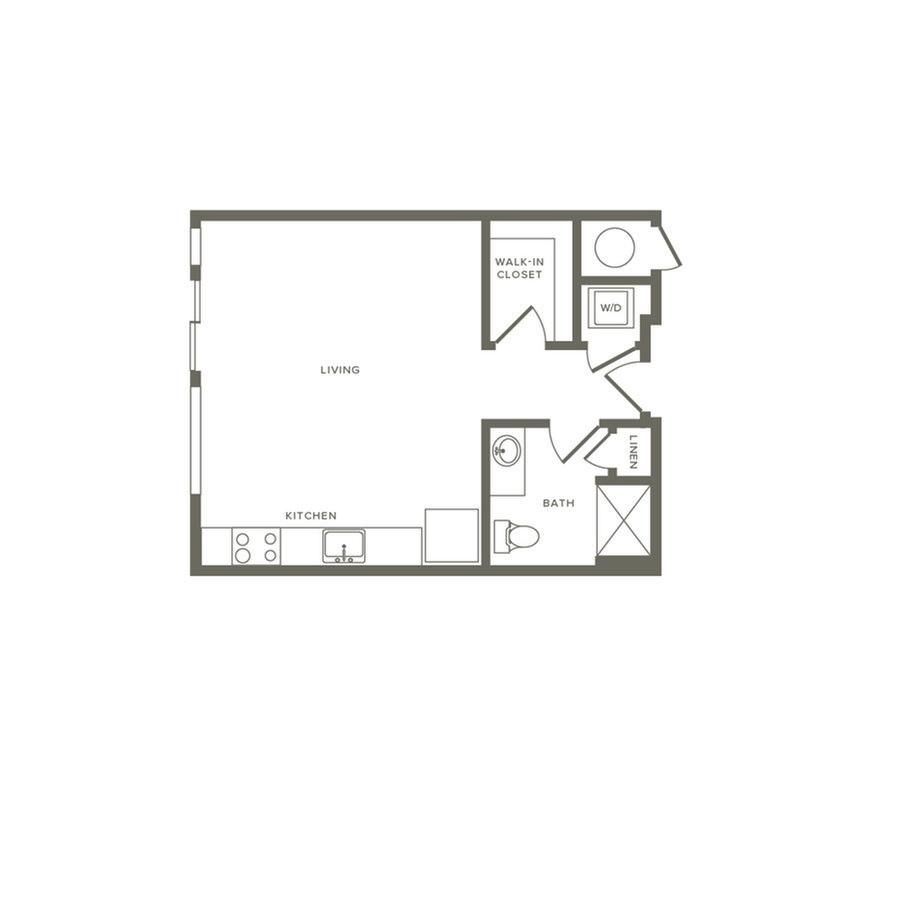 Studio 1 Bathroom Apartment for rent at Modera River North in Denver, CO