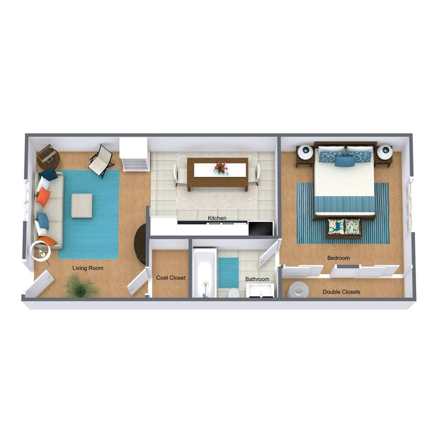 1 Bedroom 1 Bathroom Apartment for rent at Falcon Way Townhomes in Rantoul, IL