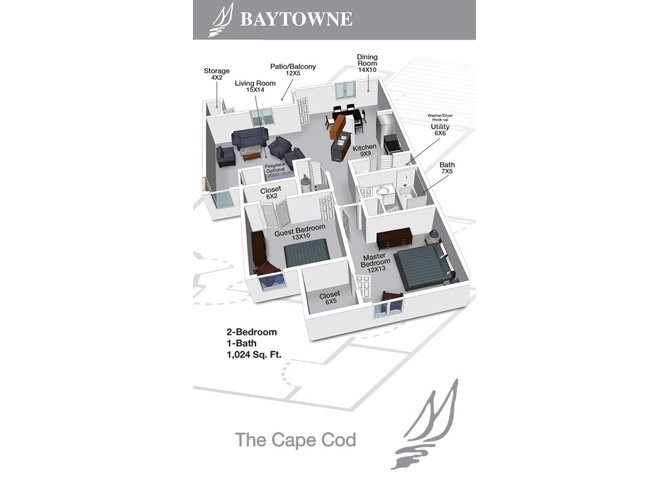 2 Bedrooms 1 Bathroom Apartment for rent at Baytowne Apartments in Champaign, IL