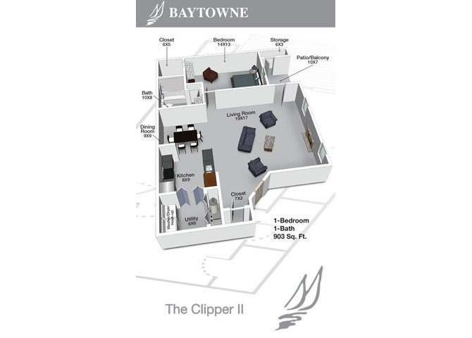 1 Bedroom 1 Bathroom Apartment for rent at Baytowne Apartments in Champaign, IL