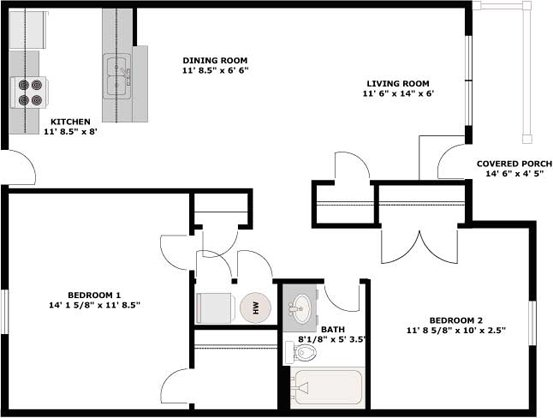 2 Bedrooms 1 Bathroom Apartment for rent at Hanover Manor in Columbia, MO