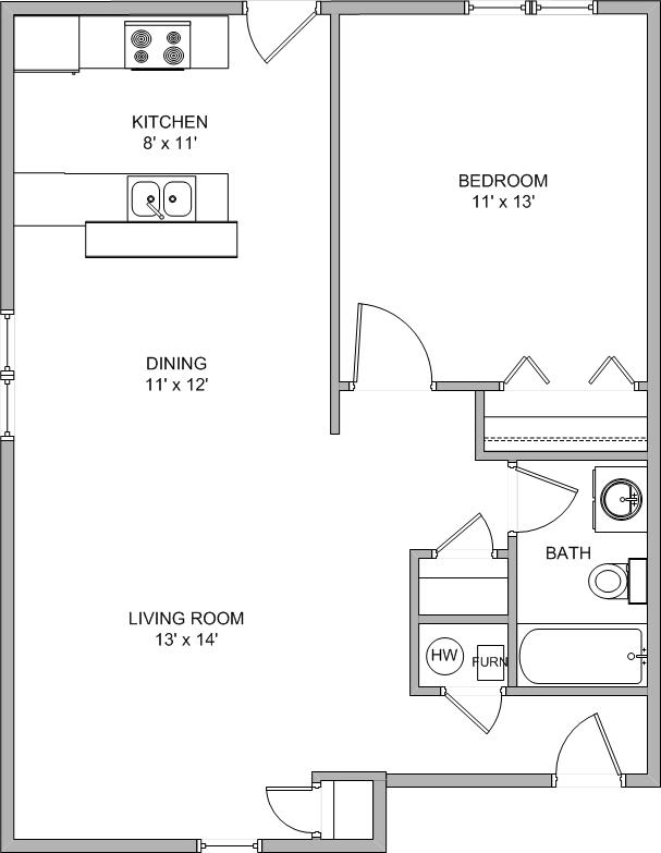 1 Bedroom 1 Bathroom Apartment for rent at North Hampton Place in Columbia, MO