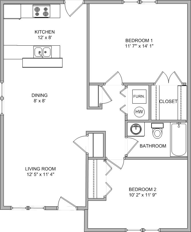 2 Bedrooms 1 Bathroom Apartment for rent at North Hampton Place in Columbia, MO