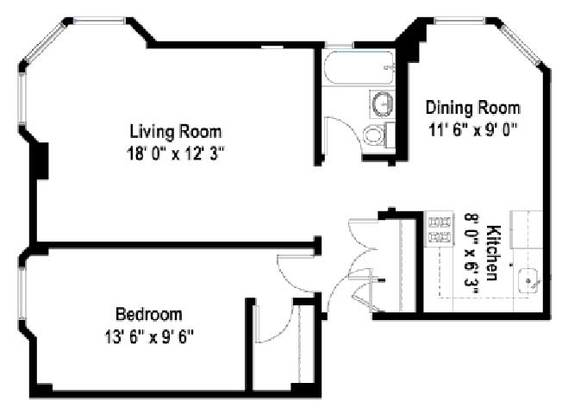 1 Bedroom 1 Bathroom Apartment for rent at The Wyndham in Chicago, IL
