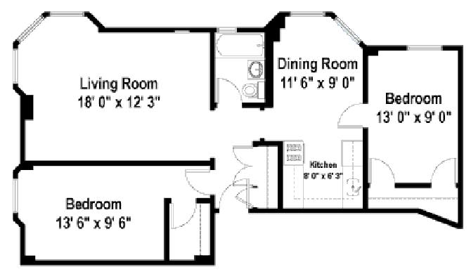 2 Bedrooms 1 Bathroom Apartment for rent at The Wyndham in Chicago, IL