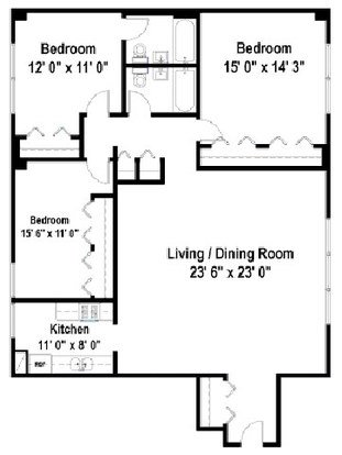 3 Bedrooms 2 Bathrooms Apartment for rent at Maple Grove Apartments in Evanston, IL