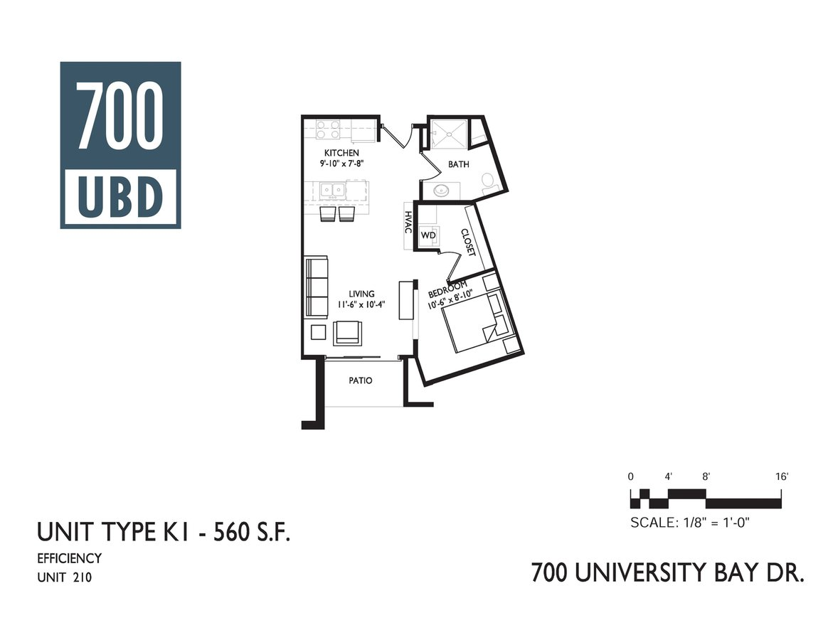 Studio 1 Bathroom Apartment for rent at 700 Ubd Apartments in Madison, WI