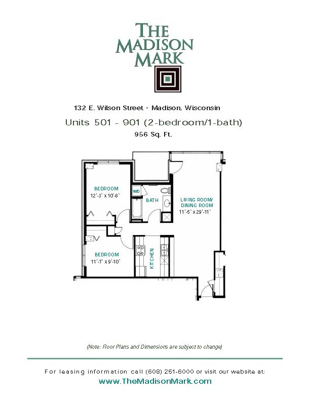 2 Bedrooms 1 Bathroom Apartment for rent at The Madison Mark in Madison, WI