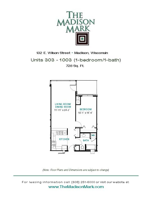 1 Bedroom 1 Bathroom Apartment for rent at The Madison Mark in Madison, WI