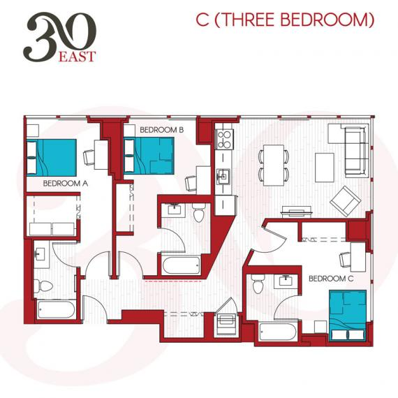 3 Bedrooms 3 Bathrooms Apartment for rent at 30 East in Chicago, IL