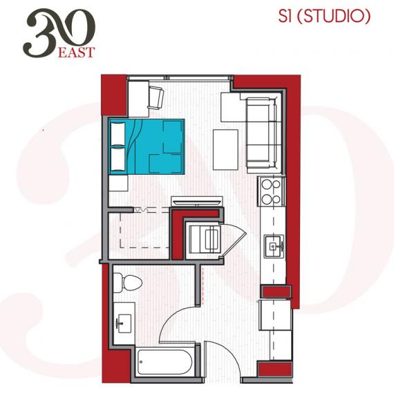 Studio 1 Bathroom Apartment for rent at 30 East in Chicago, IL
