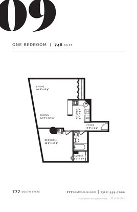 1 Bedroom 1 Bathroom Apartment for rent at 777 South State in Chicago, IL