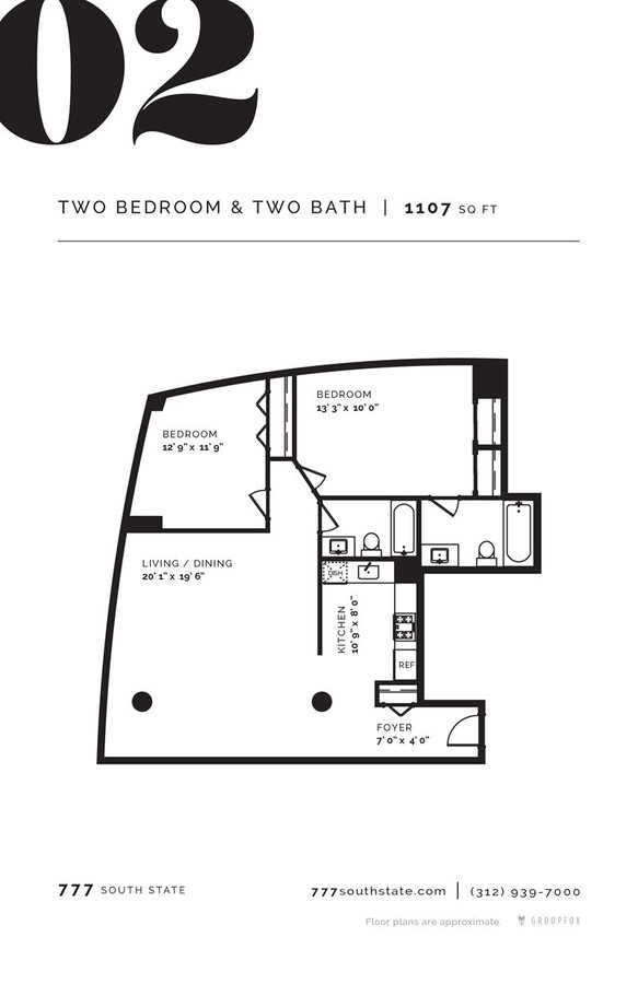 2 Bedrooms 2 Bathrooms Apartment for rent at 777 South State in Chicago, IL