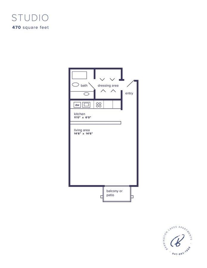 Studio 1 Bathroom Apartment for rent at Barrington Lakes in Hoffman Estates, IL