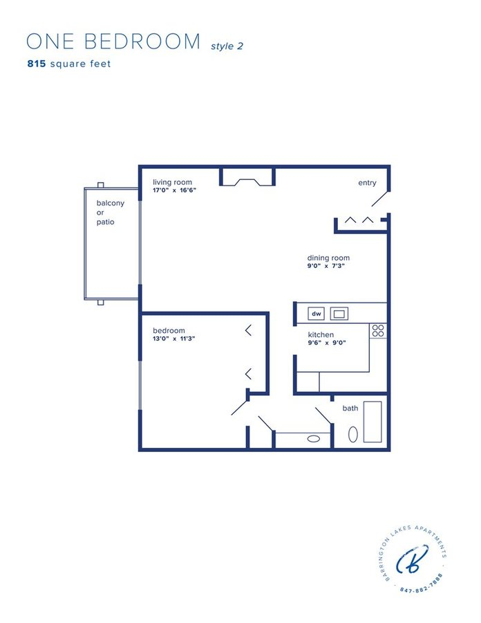 1 Bedroom 1 Bathroom Apartment for rent at Barrington Lakes in Hoffman Estates, IL