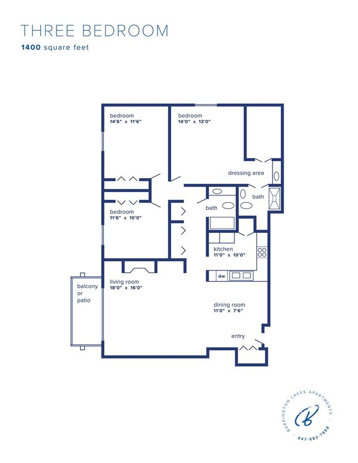3 Bedrooms 2 Bathrooms Apartment for rent at Barrington Lakes in Hoffman Estates, IL